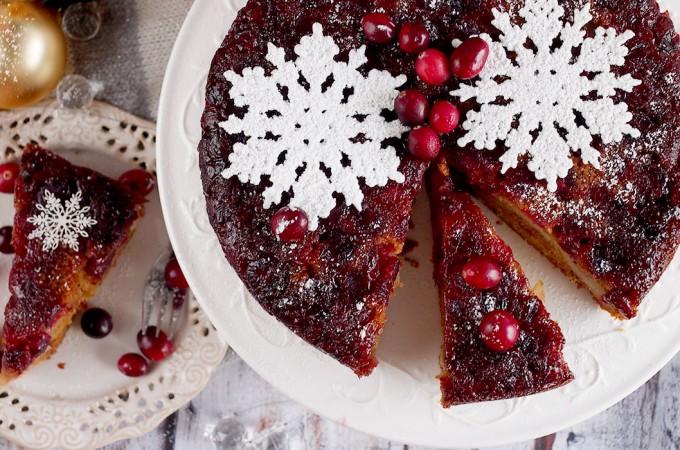 Odwrocony piernik z zurawina i gruszkami / Cranberry pear upside-down gingerbread