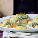 Losos zapiekany ze szpinakiem i mozzarella / Salmon baked with spinach and mozzarella