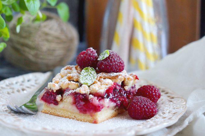 Ciasto z malinami i budyniem / Raspberry pudding cake
