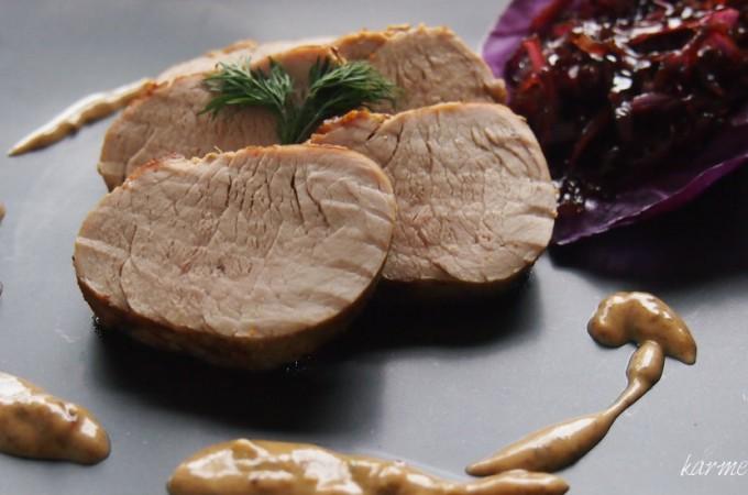 Polędwiczka wieprzowa w sosie z cydru i sera pleśniowego