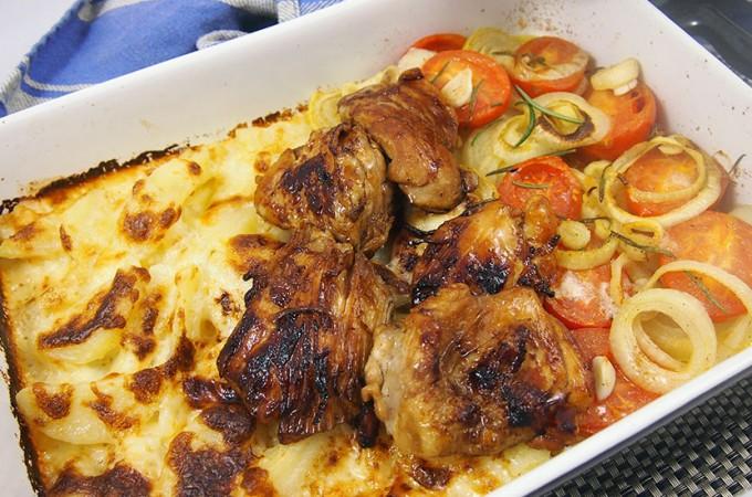 Miodowy kurczak z warzywami zapiekanymi pod pierzynką parmezanową