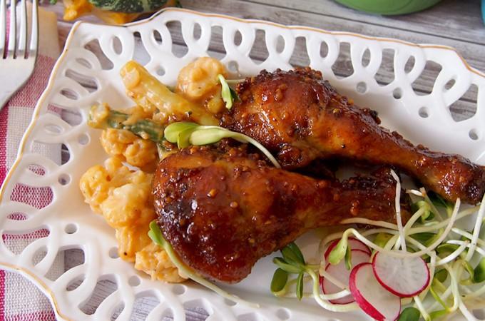 Kurczak w glazurze miodowo-musztardowej ze szczyptą curry / Honey mustard chicken with curry