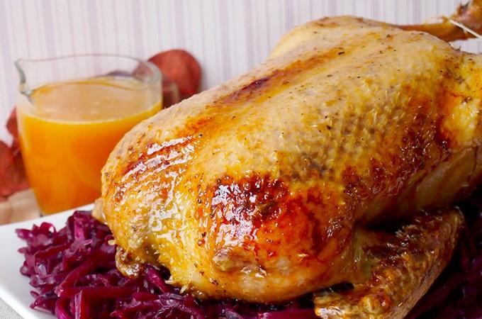 Kaczka z sosem karmelowo-pomarańczowym/Roast duck with caramel and orange sauce
