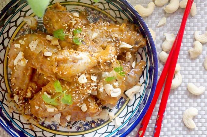 Tajskie skrzydełka w sosie z masła orzechowego / Thai chicken wings with peanut sauce