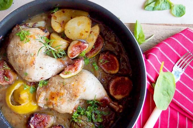 Kurczak zapiekany z miodem i figami / Chicken braised with figs and honey