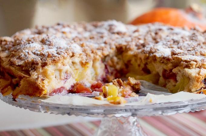 Łatwe ciasto z brzoskwiniami i śliwkami / Easy peach and plum coffee cake