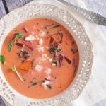 Zupa botwinkowa z ziemniakami i fetą / Young beet soup with potatoes and feta cheese