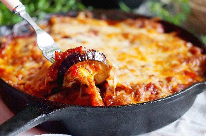 Bakłażan zapiekany z grzybami i pomidorami / Aubergine, mushroom and tomato bake