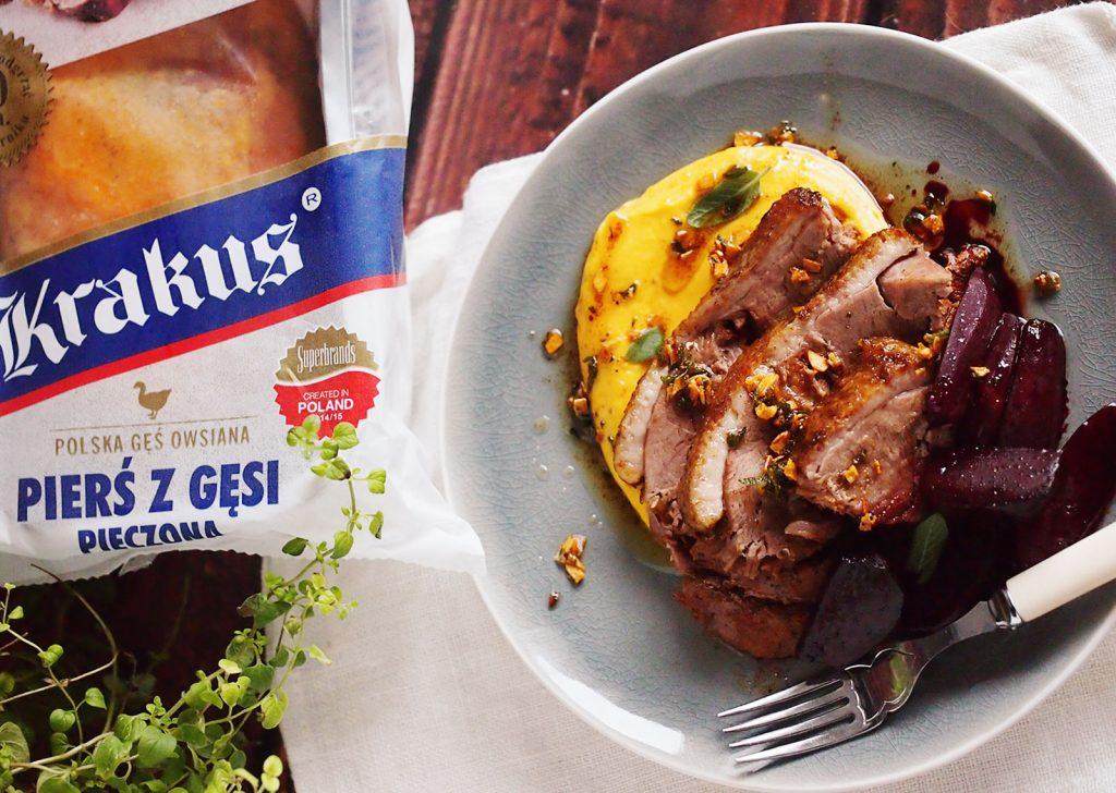 Gęś z puree z dyni i glazurowanymi burakami / Goose breast with pumpkin puree and honeyed beets