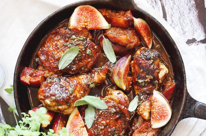 Kurczak w balsamicznej glazurze z figami / Balsamic chicken with figs