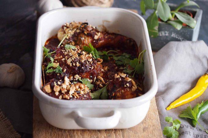 Kurczak pieczony w sosie rabarbarowo-wiśniowym / Roasted chicken with rhubarb and cherry sauce