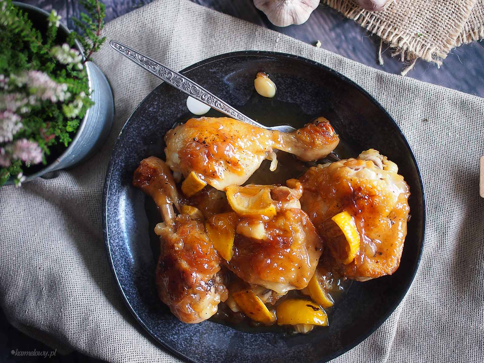 Kurczak-duszony-z-miodem i-cytryna-Braised-chicken-with-honey-and-lemon