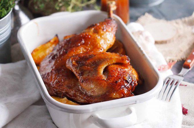 Pieczona perliczka w pomarańczach i glazurze miodowej / Honey glazed roasted guinea fowl with orange